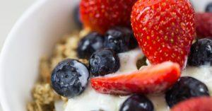 Berries over yogurt and granola. Part of breakfast catering services.