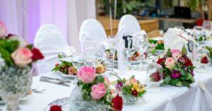 Decorated table for a wedding reception. Catering is an important part of weddings.